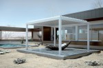 Outdoor all'avanguardia: tettoia a lamelle resistente agli agenti atmosferici