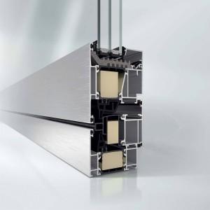 Ante a bilico orizzontale o verticale con struttura in profilato d'alluminio AWS 75.SI+ di Schüco