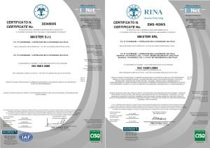 Certificato ISO9001 e ISO14001