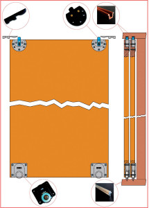 Schema di installazione e componenti del nuovo sistema scorrevole Mini Silent per ante con peso massimo di 50 kg. Produzione Pettiti Giuseppe