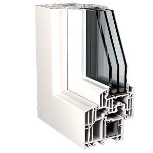 TOP 90: dettaglio finestra con anta Step-line in PVC, vista esterna. Produzione Finstral