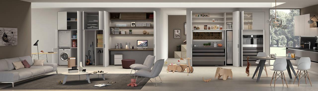 SKEMA INFINITO, il nuovo sistema di chiusure di FerreroLegno che dà possibilità di sviluppare molteplici soluzioni estetiche con continuità nella sequenza di pannelli
